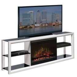SEMINEU ELECTRIC COMODA NOVARA WHITE FOCAR ELECTRIC 3D DIMPLEX OPTIFLAME CU SUNET DF2608  - 1
