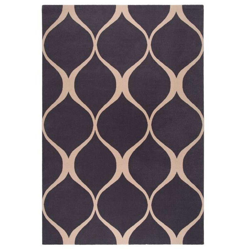 Covor lana Illusie negru cu linii  - 1