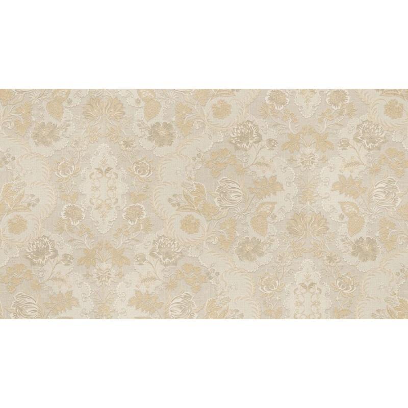 Tapet gri deschis cu model floral crem  - 1