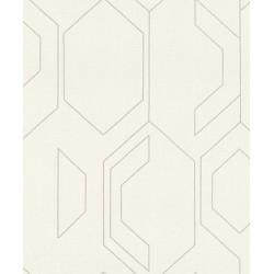 Tapet cu modele geometrice argintii pe fond alb 800838  - 1