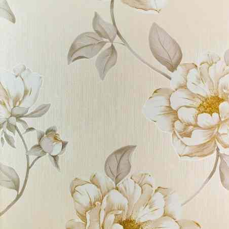 Tapet cu model floral crem cu bej si auriu J07407  - 1