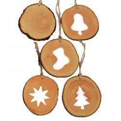 Set decoratiuni de craciun cu motive din felii de lemn New Way Decor - 24 bucati  - 2