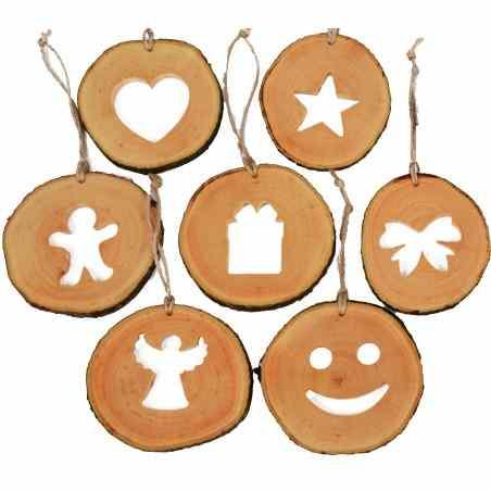Set decoratiuni de craciun cu motive din felii de lemn New Way Decor - 24 bucati  - 3