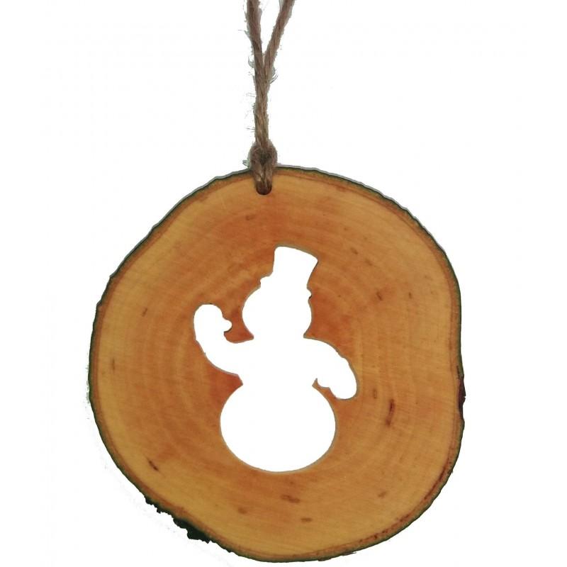 Decoratiune de craciun - Om de zapada din felie de lemn New Way Decor - 1