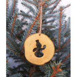 Decoratiune de craciun - Om de zapada din felie de lemn New Way Decor - 2