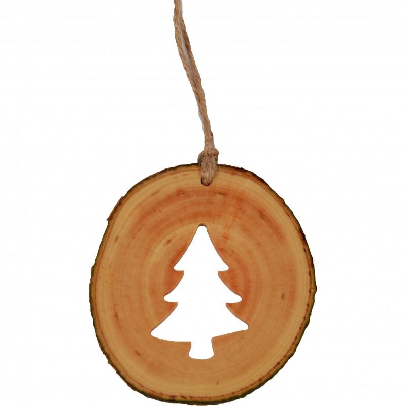 Decoratiune de craciun - Bradut din felie de lemn New Way Decor - 1