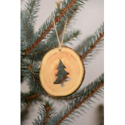 Decoratiune de craciun - Bradut din felie de lemn New Way Decor - 2