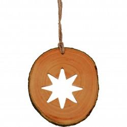 Decoratiune de craciun  - Steluta cu 8 colturi din felie de lemn New Way Decor  - 1