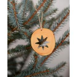 Decoratiune de craciun - Steluta cu 8 colturi din felie de lemn New Way Decor - 2
