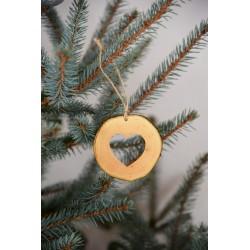 Decoratiune de craciun - Inimioara din felie de lemn New Way Decor  - 2
