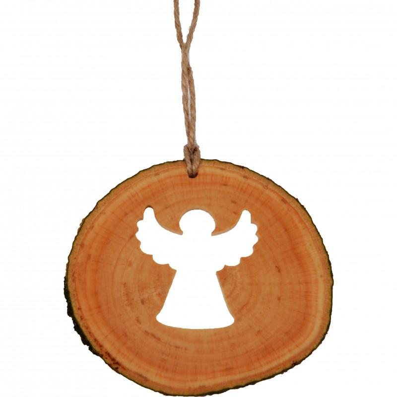 Decoratiune de craciun - Ingeras din felie de lemn New Way Decor  - 1
