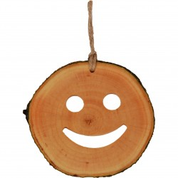 Decoratiune de craciun  - Smiley din felie de lemn New Way Decor  - 1