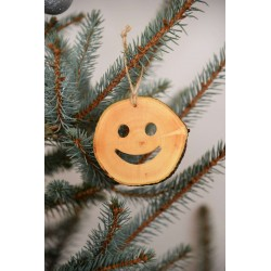 Decoratiune de craciun - Smiley din felie de lemn New Way Decor - 2