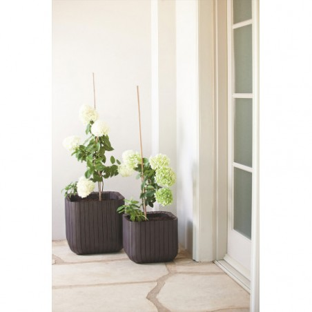 Ghiveci pentru flori, patrat, maro - 1