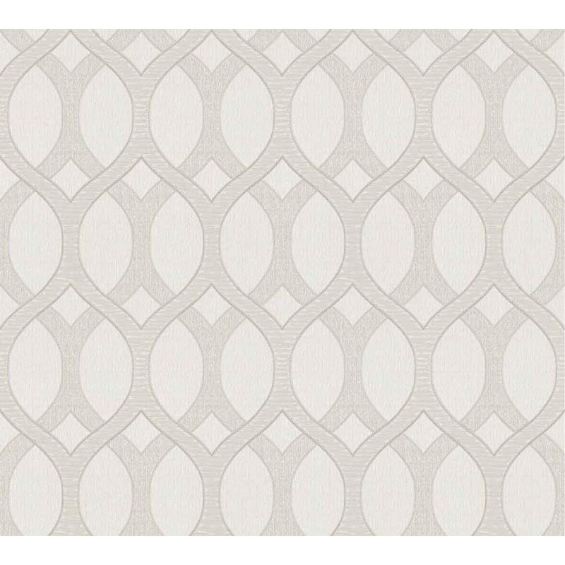 Tapet geometric gri deschis cu alb Z72035 - 1