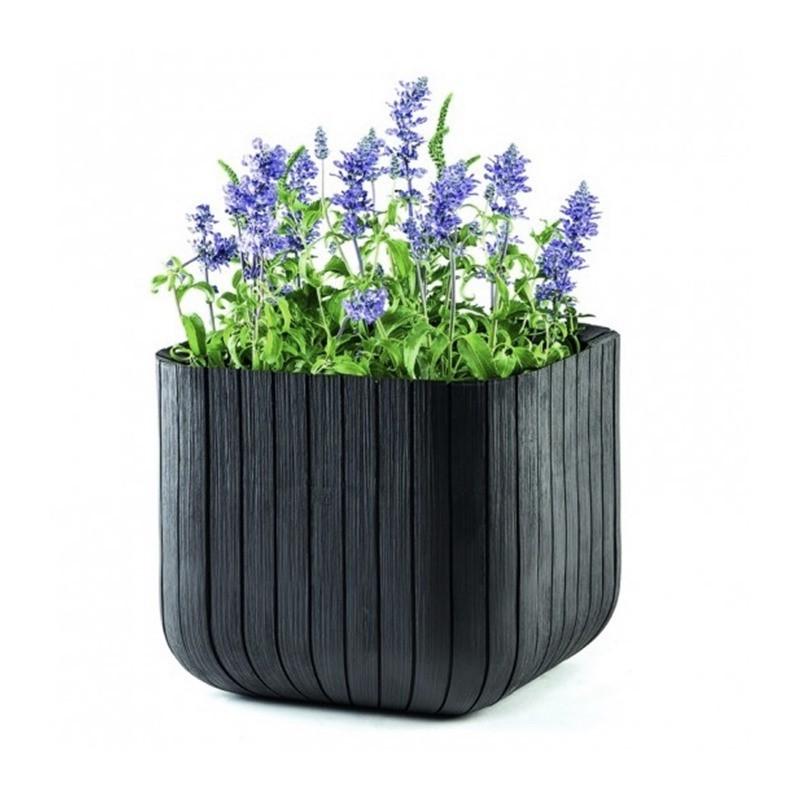 Ghiveci pentru flori, patrat, antracit - 1