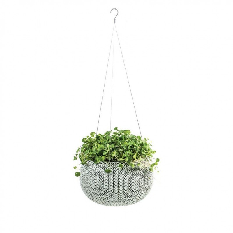 Ghiveci pentru flori, suspendabil, gri - 1