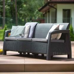 Canapea pentru gradina, 3 locuri, gri - 1