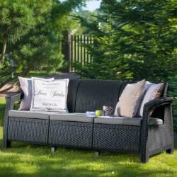 Canapea pentru gradina, 3 locuri, gri - 3
