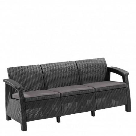 Canapea pentru gradina, 3 locuri, gri - 4