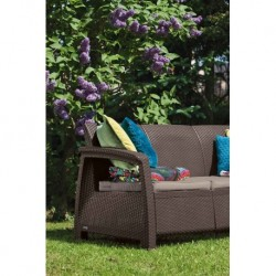 Canapea pentru gradina, 3 locuri, maro - 2