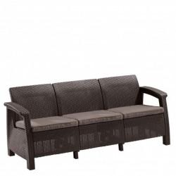 Canapea pentru gradina, 3 locuri, maro - 3