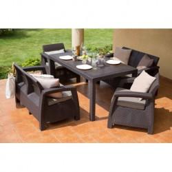 Set mobilier pentru terasa, maro - 1