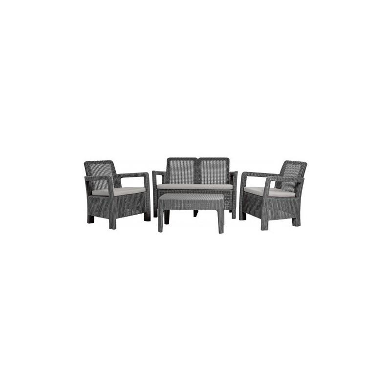 Set mobilier gradina graphite, 2 fotolii, canapea, masuta - 5