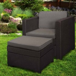Set scaun si masuta terasa, maro - 1