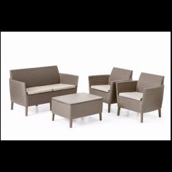 Set mobilier gradina, 4 locuri, cappuccino - 1