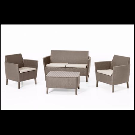 Set mobilier gradina, 4 locuri, cappuccino - 3