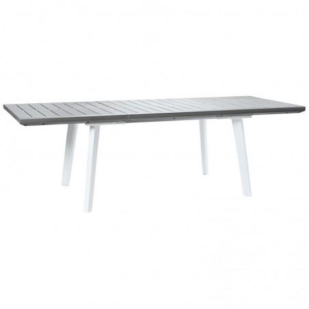 Masa pentru gradina, extensibila, dreptunghiulara, alb - gri - 4