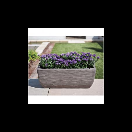 Ghiveci orizontal din plastic, pentru flori, gri, 20L - 1