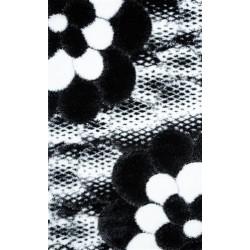 Covor pufos 3D floare alb negru - 1