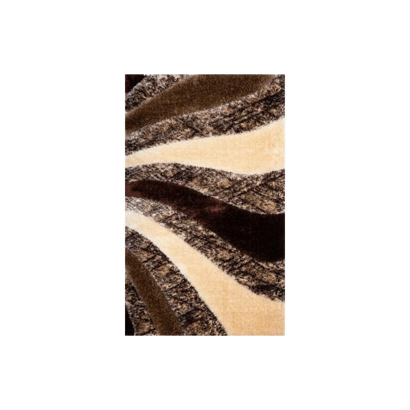 Covor pufos 3D maro valuri - 1