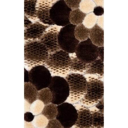 Covor pufos 3D floare maro - 1