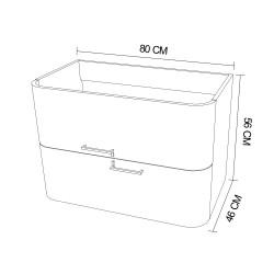 Mobilier baie pentru lavoar, stejar auriu, 80 x 46 x 56 cm - 4