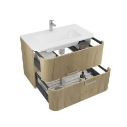 Mobilier baie pentru lavoar, stejar auriu, 80 x 46 x 56 cm - 3