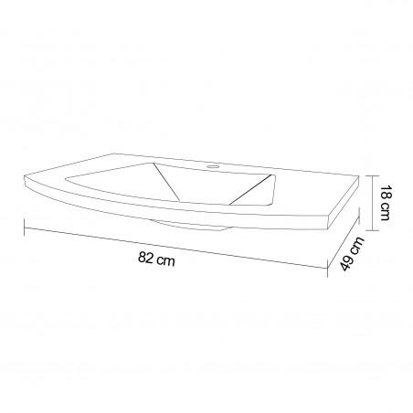 Lavoar 80cm pentru baie, alb, dreptunghiular, 82x49x18cm - 1