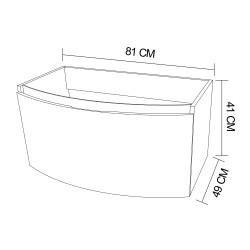 Mobilier baie, 80, cu sertar, cappuccino, 80 x 49 x 41 cm - 2
