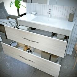 Mobilier baie cu 2 sertare și lavoar, stejar alb, 81x 53 x 47 cm - 1