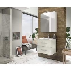 Mobilier baie cu 2 sertare și lavoar, stejar alb, 81x 53 x 47 cm - 2