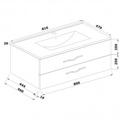 Mobilier baie cu 2 sertare și lavoar, stejar alb, 81x 53 x 47 cm - 4