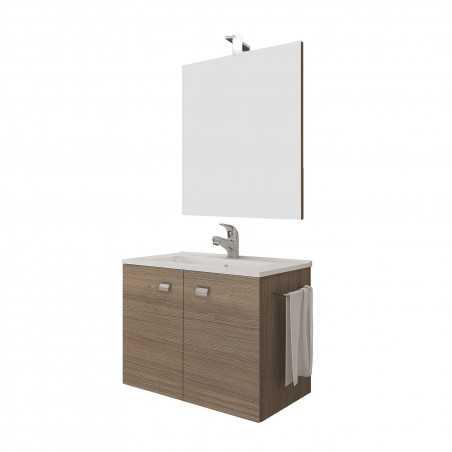 Set mobilier baie cu 2 sertare, lavoar si oglinda, stejar, 60 cm - 2