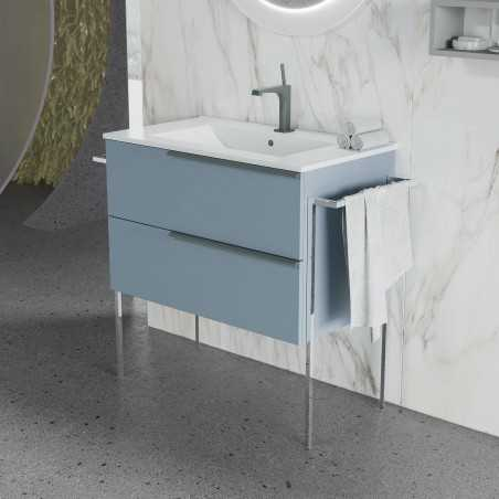 Set mobilier, baza suspendata cu 2 sertare si lavoar ceramic, 81 cm, albastru pastel mat, Oikos - 1