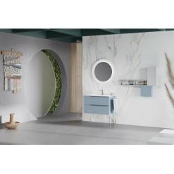 Set mobilier, baza suspendata cu 2 sertare si lavoar ceramic, 81 cm, albastru pastel mat, Oikos - 2