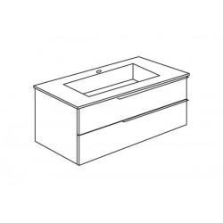 Set mobilier, baza suspendata cu 2 sertare si lavoar ceramic, 81 cm, albastru pastel mat, Oikos - 3