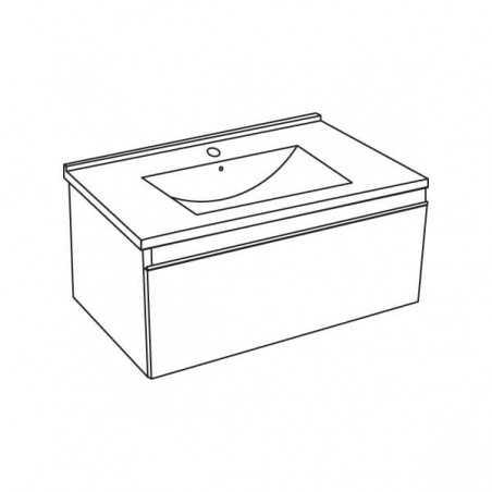 Bază suspendată, alb, 1 sertar și lavoar ceramic, 81 cm, Albatros - 1