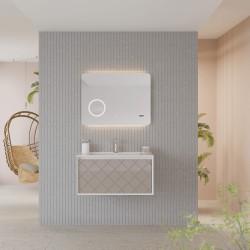 Baza suspendata cu sertar, cappuccino lucios, lavoar ceramic, 81 cm, Akri - 1
