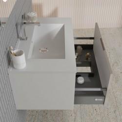 Baza suspendata cu sertar, cappuccino lucios, lavoar ceramic, 81 cm, Akri - 3